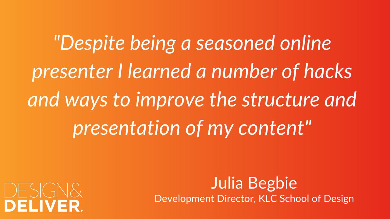 """testimonial """"design & deliver"""" jeremy cassell julia begbie designer"""