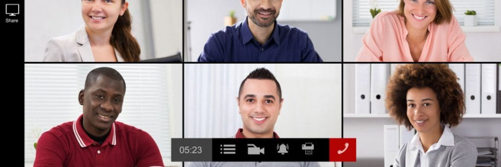 Screenshot of a group online call with six people