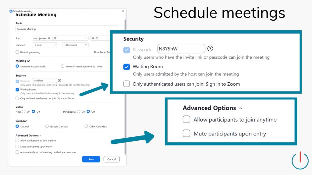 schedule meetings in zoom waiting room