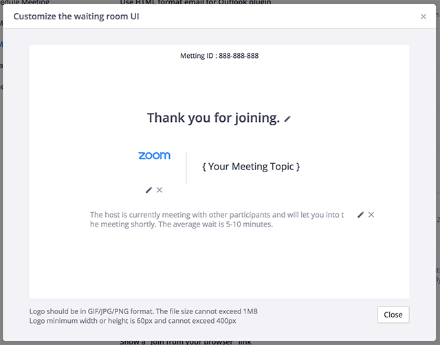 waiting room zoom presentation