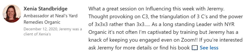 testimonial webinar feedback review jeremy cassell