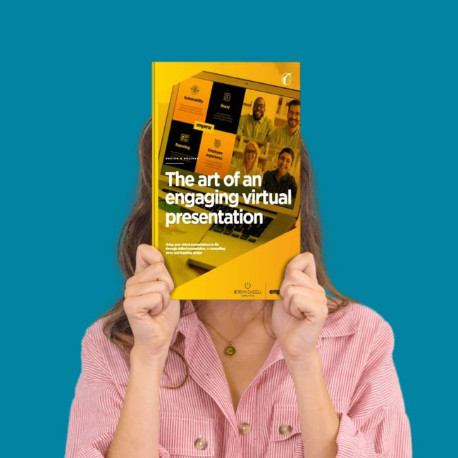 Woman holding a book in front of her face called The art of an engaging virtual presentation.